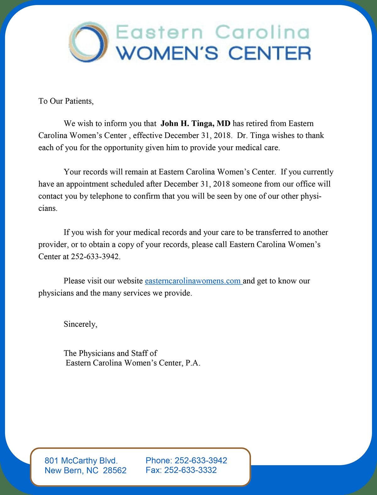 Dr. Tinga Letter